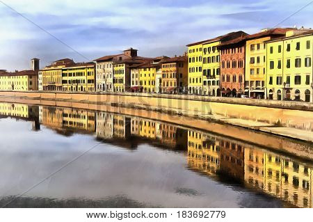 Colorful painting of Arno river Pisa Tuscany Italy