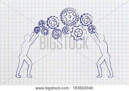 man fixing a gearwheel mechanism concept of of customized products or business solutions