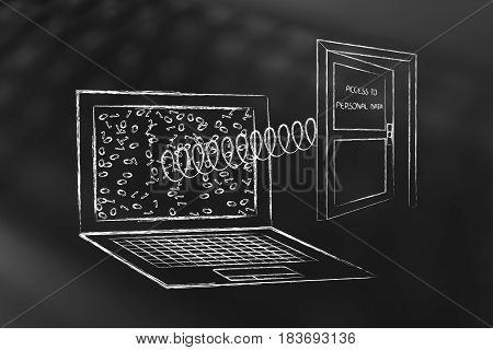 Laptop With Open Door Popping Out Of The Screen With Text Personal Data On