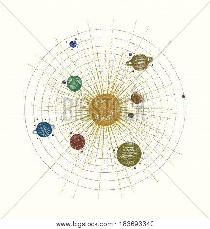 solar system in dotwork style. planets in orbit. vintage hand drawn colorful illustration