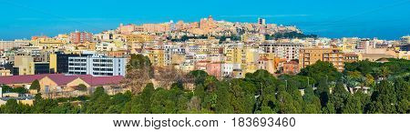 Cagliari, Sardinia, Italy: Panorama of Sardinia's capital, colored buildings and houses in historic center of the city