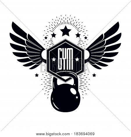 Fitness and heavyweight gym sport club logotype template vintage style winged vector emblem. With kettlebell.