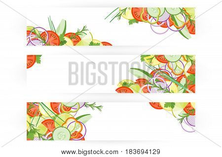 Food Banner With Vegetables Isolated On White Background.