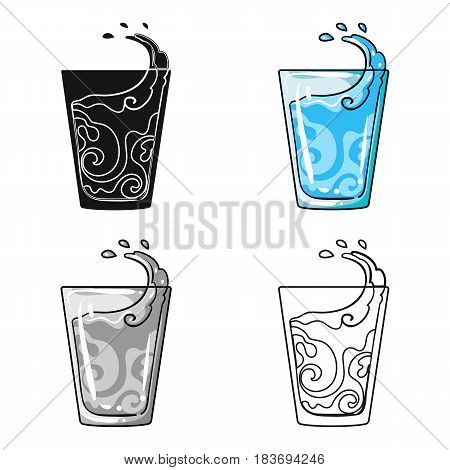 Transparent glass with water. Water to take my pills insulin for diabetics.Diabetes single icon in cartoon style vector symbol stock web illustration.