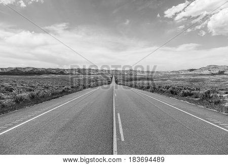 Highway Through The Desert In Monochrome