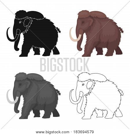Mammoth icon in cartoon design isolated on white background. Dinosaurs and prehistoric symbol stock vector illustration.