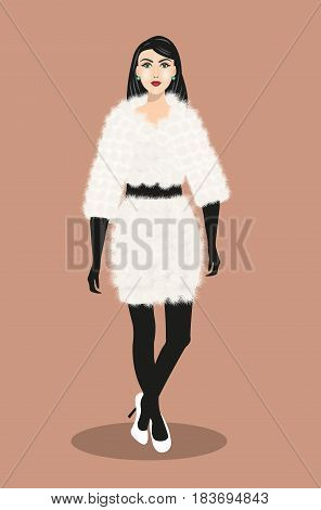 Beautiful young woman wearing fashion fur coat and shoes. Fashion model. Vector illustration isolated.