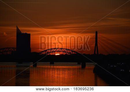 Evening landscape in Riga, capitalcity of Latvia during the sunset.