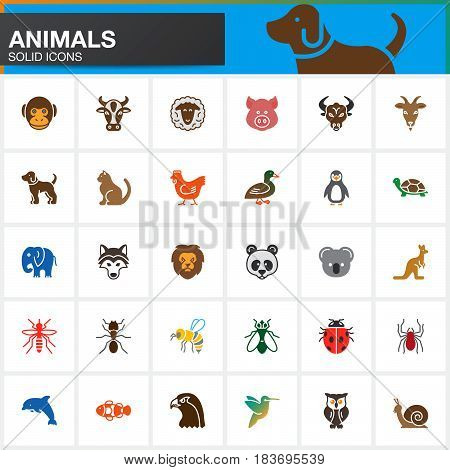 Animals vector icons set modern solid symbol collection filled pictogram pack isolated on white. Colorful signs logo illustration