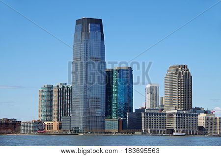 NEW YORK CITY- April 2: View of Exchange Place in Jersey City, New Jersey. Viewed from Battery Park NYC. April 2, 2017.