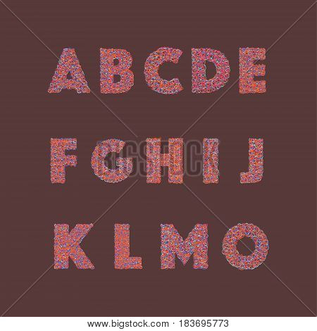 Vector set of cute alphabet letters with abstract Colorful Graffiti doodles style.