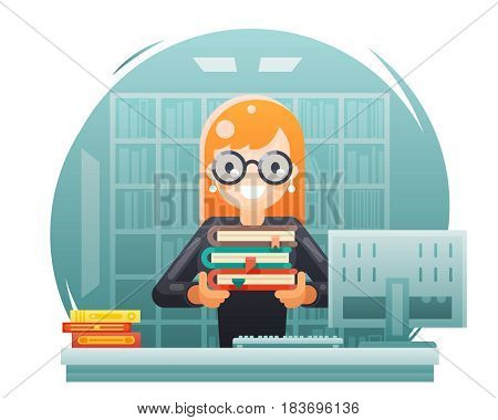 library knowledge education learning librarian girl holding flat book design vector illustration