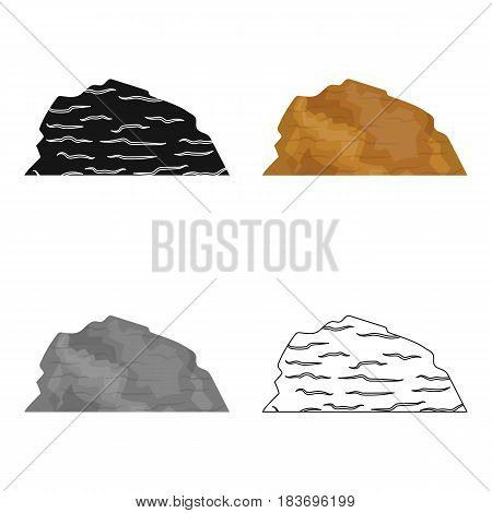 Sandy ceremony in wild west .Mountains of sand.Mountains in the desert.Different mountains single icon in cartoon style vector symbol stock web illustration.