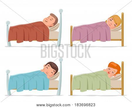 Sweet dream sleep man woman children boy girl bed rest night blanket pillow cartoon isolated design set vector illustration