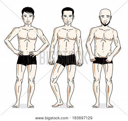 Handsome Men Standing In Black Underwear. Vector Set Of Beautiful People Illustrations.
