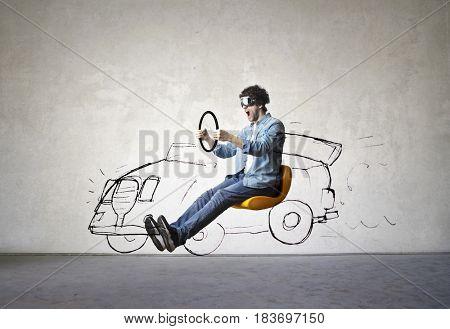 Man imagines driving a sports car