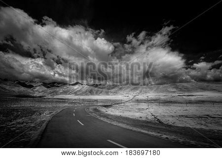 Classic landscape with a road. The survey was conducted in the infrared range. It turned out a classic black and white photo.