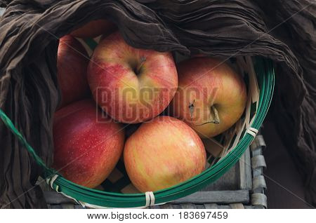 Wicker basket with fresh picked ripe apples.