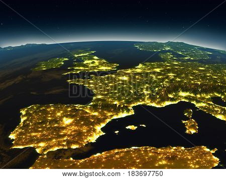 Iberia From Space In The Evening