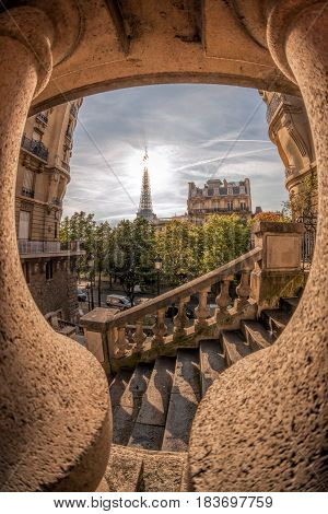 Romantic Street View With Eiffel Tower In Paris, France