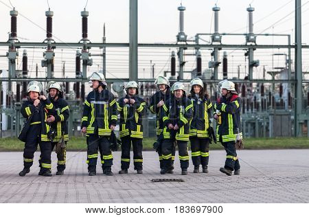 Hamburg, Germany - April 18, 2013: German firefighter team in an exercise