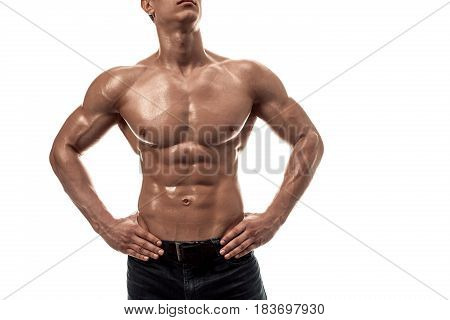 Part of a man's body on a white background with copyspace. Isolated on white background.