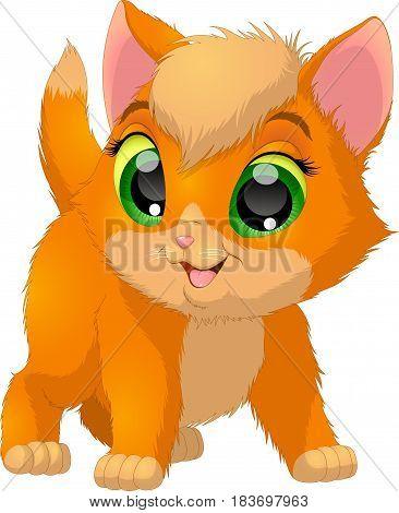 Vector illustration, funny kitten kid smiling, on white background.