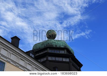 UPPSALA, SWEDEN - JULY 7, 2016: This is a dome with a sphere of the ancient building of the university - Gustavianum.