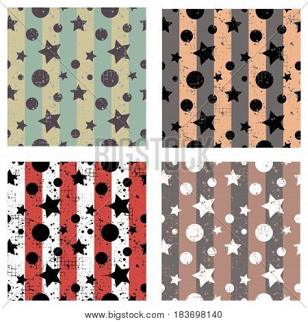 Set Of Vector Seamless Patterns Creative Geometric Backgrounds With Stars, Drops, Blots. Texture Wit