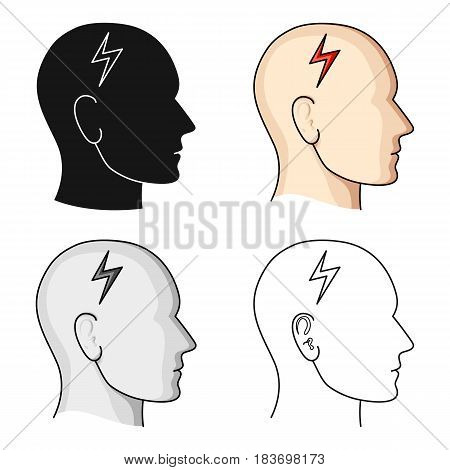 The head of the person with diabetes.Headache due to diabetes .Diabetes single icon in cartoon style vector symbol stock web illustration.