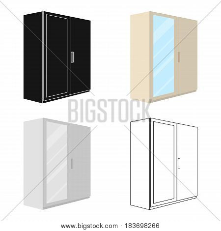 A small wardrobe with a clean mirror.Bedroom furniture single icon in cartoon style vector symbol stock web illustration.
