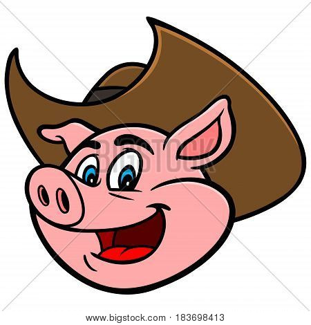 A vector illustration of a Cowboy Pig.