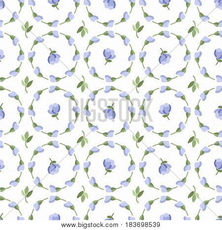 Floral pattern, blue buds and flowers, seamless white background, vector.   Blue flowers on a white field. Colored, flat background. The floral decoration. Circles of flowers.