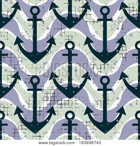 Vector Seamless Pattern Background With Anchor, Waves Creative Geometric Vintage Backgrounds, Nautic