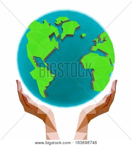 Polygonal hands holding the polygon globe. Day of the Earth. Low poly vector illustration