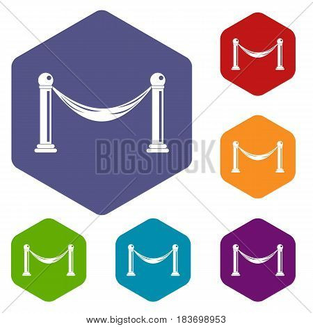 Barrier icons set hexagon isolated vector illustration