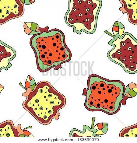 Seamless Vector Hand Drawn Childish Pattern With Fruits. Cute Childlike Pomegranate With Leaves, See
