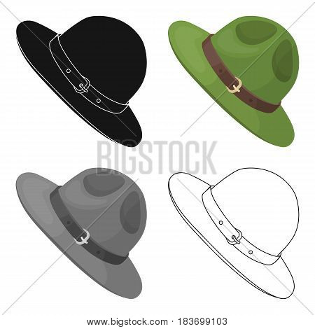 Green hat of a Canadian ranger. Canada single icon in cartoon style vector symbol stock illustration .