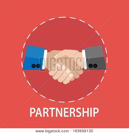 Vector flat design of a handshake partnership concept
