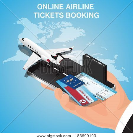 Airline tickets online. Buying or booking Airline tickets. Travel, business flights worldwide. Online app for tickets order. Internation flights.