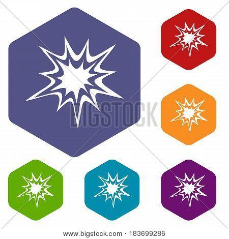 Heavy explosion icons set hexagon isolated vector illustration