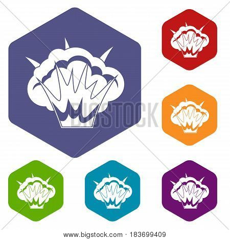 Projectile explosion icons set hexagon isolated vector illustration