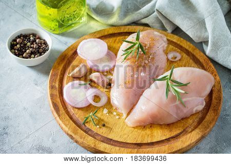 Fresh Meat. Chicken Fillet With Ingredients On A Cutting Board.