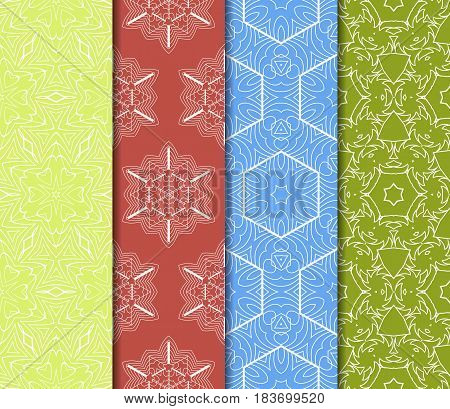 Seamless Set Floral Pattern. Vector Illustration. For Design, Wallpaper, Background Fills, Fill, Car