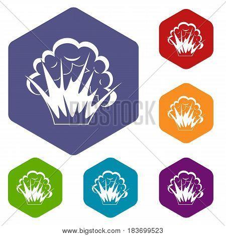 Flame and smoke icons set hexagon isolated vector illustration