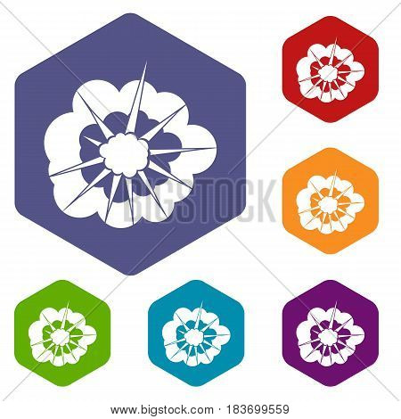 Cloudy explosion icons set hexagon isolated vector illustration