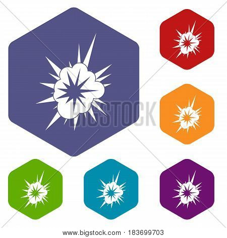 Nucleate explosion icons set hexagon isolated vector illustration