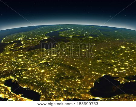 Eastern Europe From Space In The Evening
