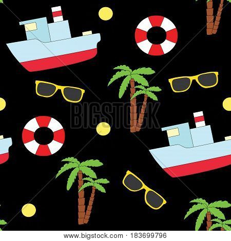 Seamless summer pattern on a black background. A vector picture with a lifebuoy, sunglasses, the ship and palm trees