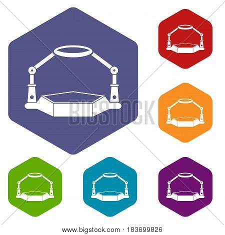 Table magnify icons set hexagon isolated vector illustration